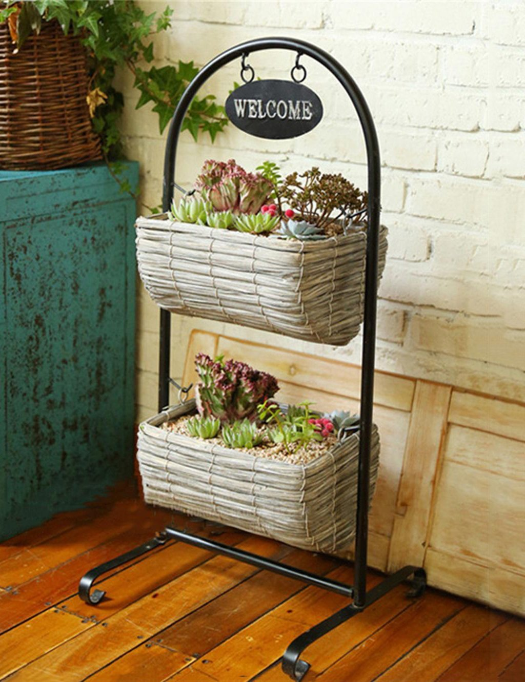 Europaische Pastrol Blume Rack Pflanzer Stand Flower Pot Regal Eisen