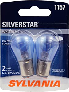 SYLVANIA - 1157 SilverStar Mini Bulb - Brighter and Whiter Light, Ideal for Daytime Running Lights (DRL) and Reverse Lights (Contains 2 Bulbs)