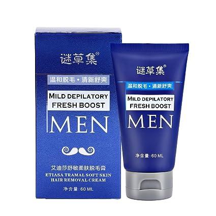 Crema Depilatoria para Hombres, 60ML Crema depilatoria para hombres Depilación depilatoria rápida y eficaz depilación