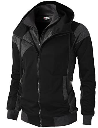 20c565f54aa H2H Mens Hoodie Zip-Up Double Zipper Closer With Two Tone Color BLACK US S