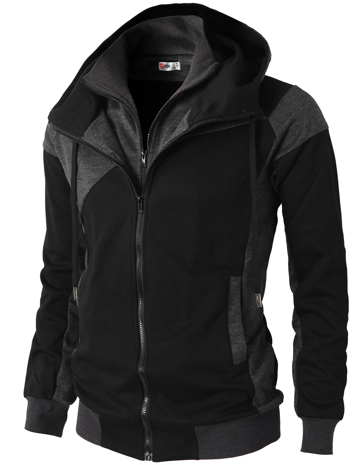 H2H Mens Hoodie Zip-Up Double Zipper Closer With Two Tone Color BLACK US XL/Asia XXL (KMOHOL076)