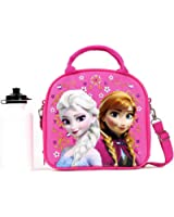 Disney Frozen Lunch Box Carry Bag with Shoulder Strap and Water Bottle (PINK).