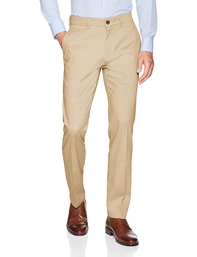 Haggar Mens Premium No Iron Khaki Slim Fit Flat Front Casual Pant