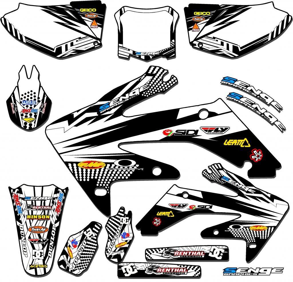 Senge Graphics 2001-2003 Honda XR 70 Mayhem White Graphics kit