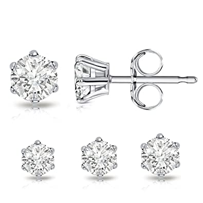 Billie Bijoux Sterling Silver Earrings Studs with Round Cut Cubic Zirconia Diamond Rhinestone, Womens Fine Jewelry