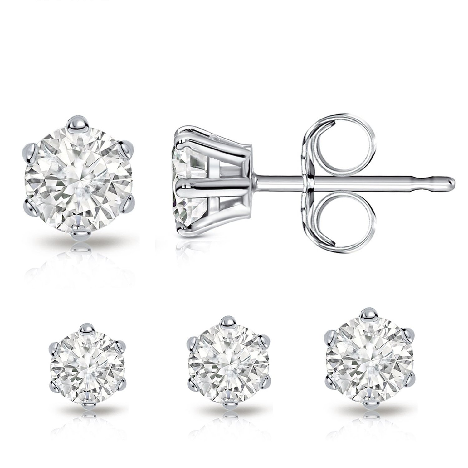 Billie Bijoux Sterling Silver Earrings Studs with Round Cut Cubic Zirconia Diamond Rhinestone, Womens Fine Jewelry (3 Pairs (4mm, 5mm, 6mm))