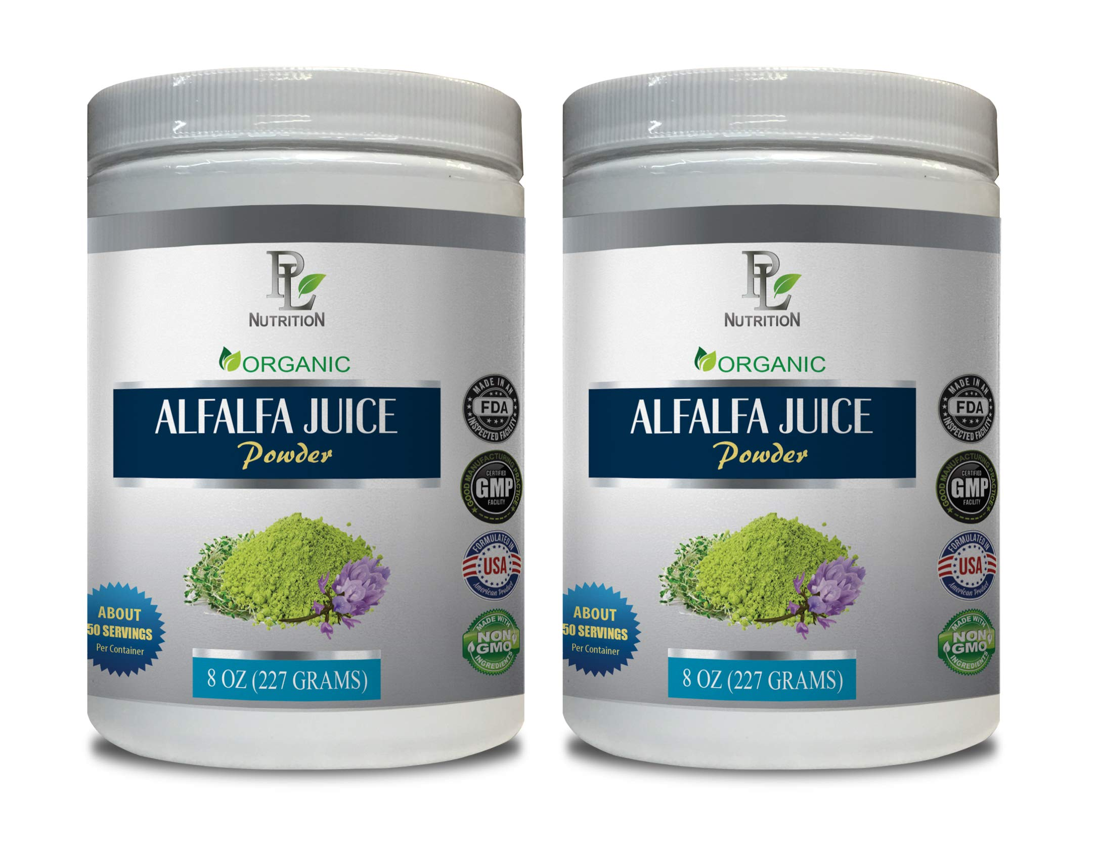 Cholesterol Natural Supplements - Alfalfa Organic - Juice Powder - Alfalfa Powder Bulk - 2 Cans 16 OZ (100 Servings) by PL NUTRITION
