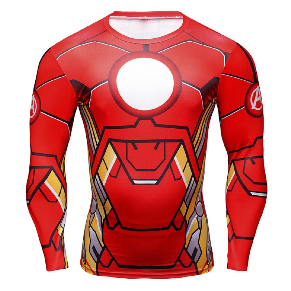 Inception Pro Infinite 16028 - t-Shirt Sporty Long Sleeve with Print Iron manper Men Sizes at Choice (XXXXL) Red