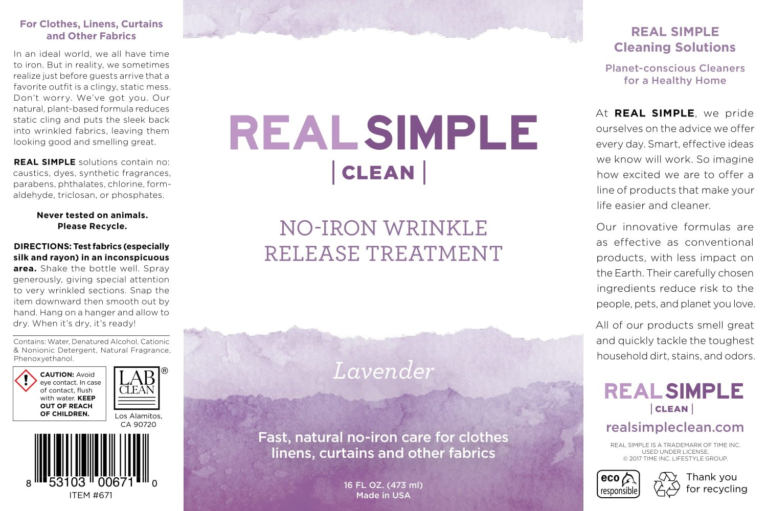 Real Simple Clean Wrinkle Release, 16 ounce Lavender, Static Cling Remover, Pillow & Fabric Freshener, Out the Door No-Iron Quick Fix, USDA Certified Biobased Product by Real Simple (Image #4)