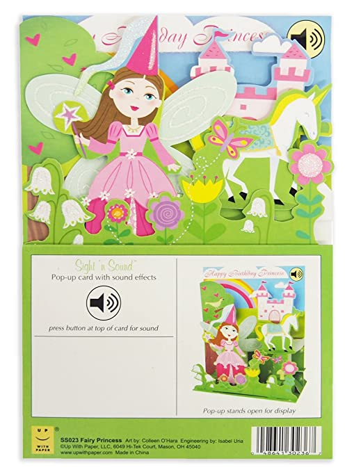 3D Pop Up Fairy Princess Birthday Card With Sound Effects Amazoncouk Kitchen Home