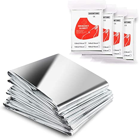 Oceas Outdoor Mylar Emergency Blankets 4 Pack of Extra Large Thermal Foil Space Blankets and Car Use Designed by NASA for Camping Hiking