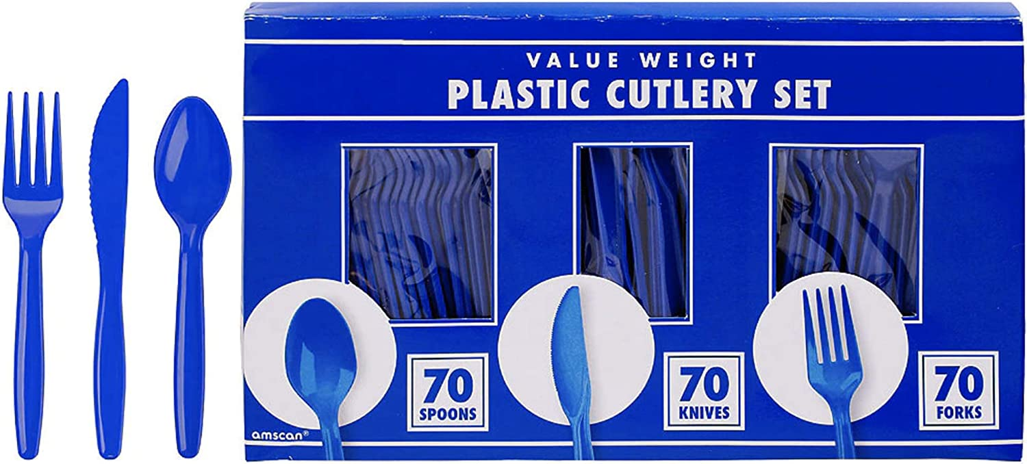 Double Pack 48 Pc Disposable Plastic Cutlery Service For 16 Royal Blue