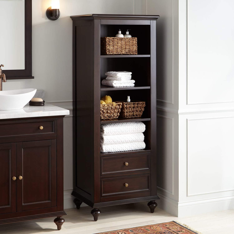 Signature Hardware 414459 Keller Mahogany Linen Storage Cabinet