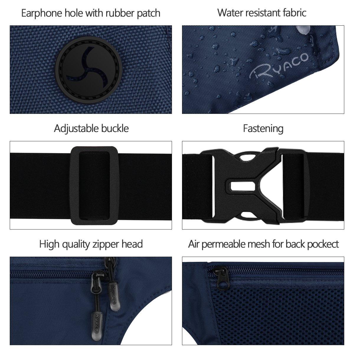 Black Ryaco Travel Money Belt with RFID Blocking Waist Bag Pouch Wallet Hidden Under Clothes Men//Women