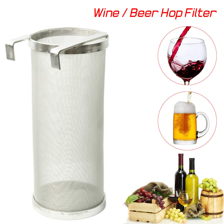 LoveDeal Stainless Steel 400 Micron Mesh Hop Spider, 4''x10'' Hopper Filter Strainer, Dry Beer Filter Basket for Home Beer Brewing Keg or Tea kettle