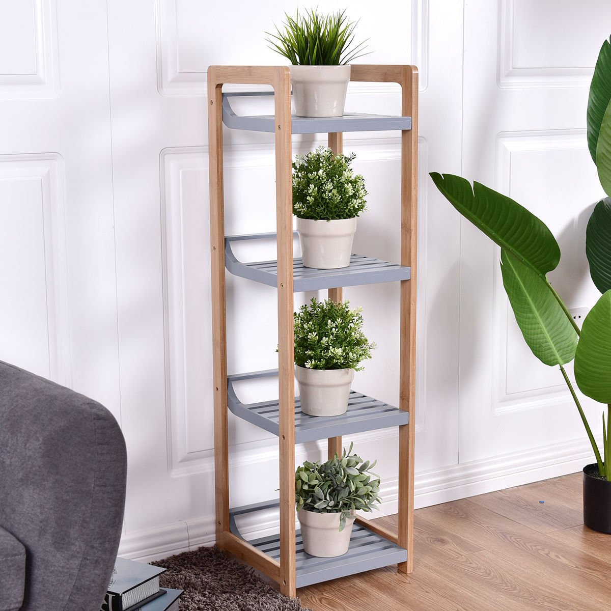 totoshop Multifunction Storage Tower Rack Shelving Shelf Units Stand Bamboo New 4 Tier by totoshop (Image #8)