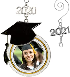 BANBERRY DESIGNS Graduation Christmas Picture Ornament 2020 or 2021 Year Dated - Black Graduation Hat Design with Photo Opening - Congrats Grad Class of 2020 Charm - Congratulations Seniors Students