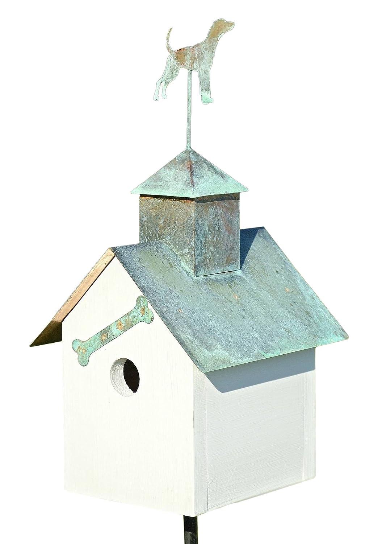 Sleepy Hollow Big Dog Bird House w White Verdi Copper Roof