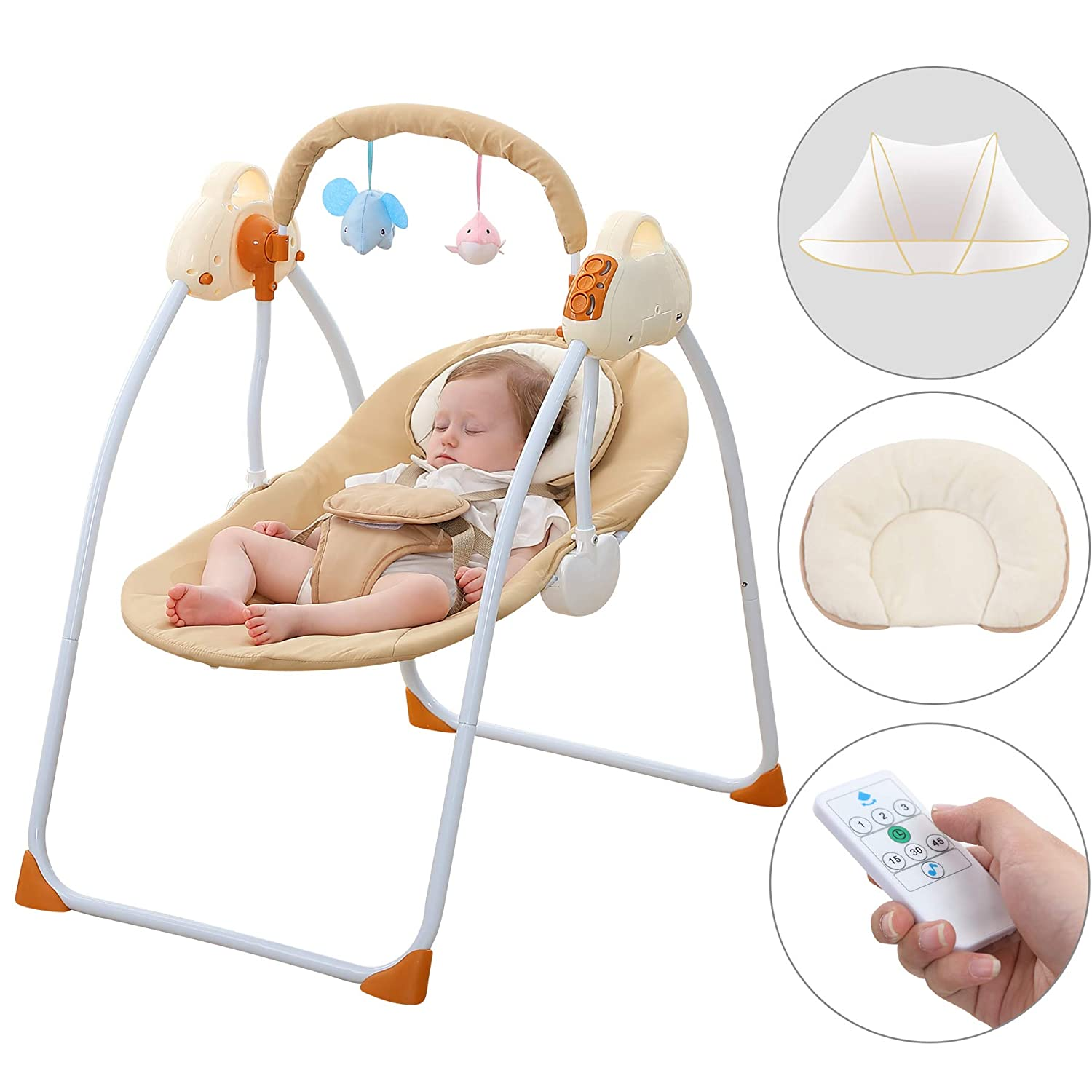 Admirable Cbbay Baby Swing Chair Electric Cradle Automatic Bassinet Baby Basket Bed Newborn Crib Rocking Music Sleeping Yellow Machost Co Dining Chair Design Ideas Machostcouk