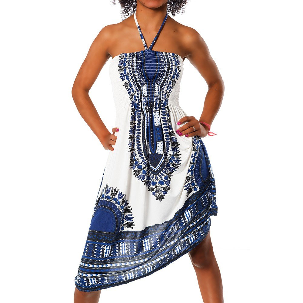 Diva-Jeans H112 Damen Sommer Aztec Bandeau Bunt Tuch Kleid Tuchkleid Strandkleid Neckholder