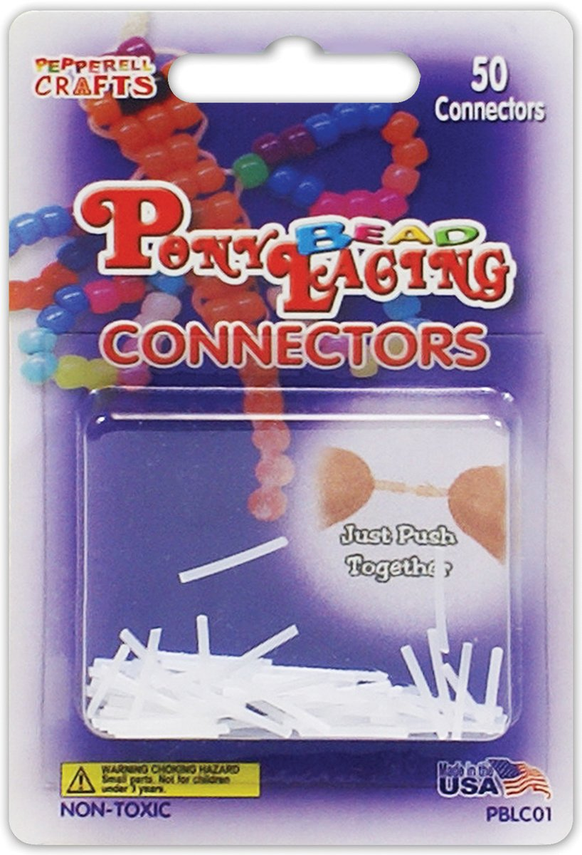 Pepperell Pony Bead Lacing Connectors, 50 Per Package Notions - In Network PBLCO1