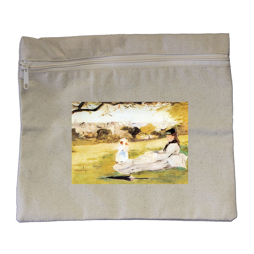 Woman & Child Sitting In Field (Morisot) Canvas Zippered Pouch Makeup Bag