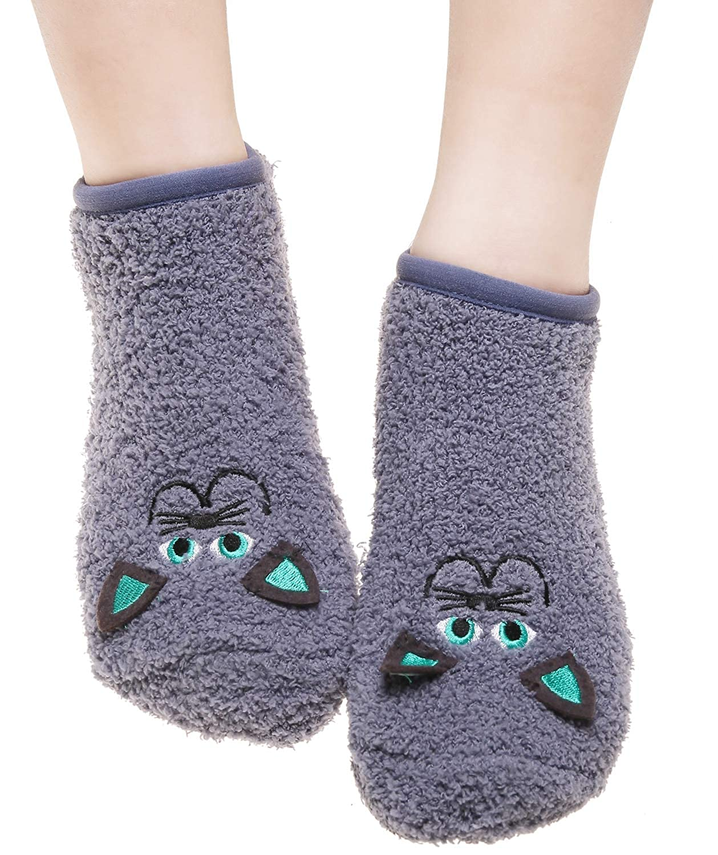 CEAJOO Women's Fuzzy Socks with Grippers Non Skid Winter Fluffy Indoor CYF-SlipperSock04-BlackCat-W3