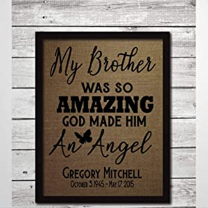 My Brother Was So Amazing God Mad Him An Angel Framed Wood Sign, Wooden Wall Hanging Art, Inspirational Farmhouse Wall Plaque, Rustic Home Decor For Nursery, Porch, Gallery Wall, Housewarming