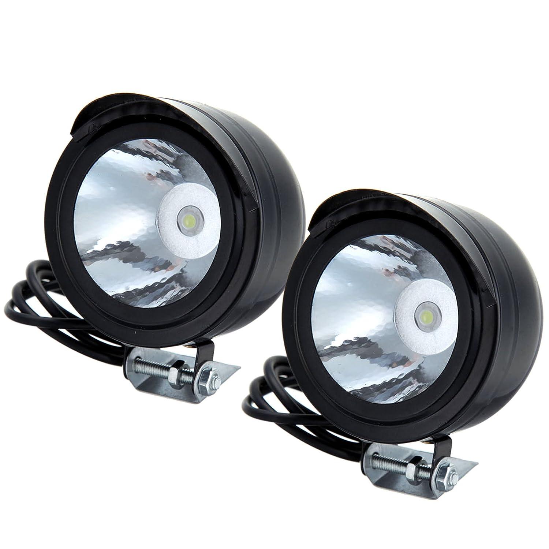 Kaigeli888 Moto V/élo 3W 12V-80V 3W LED Front Metal Phare Lampe Projecteur Lumi/ère Blanche 2 Pi/èces