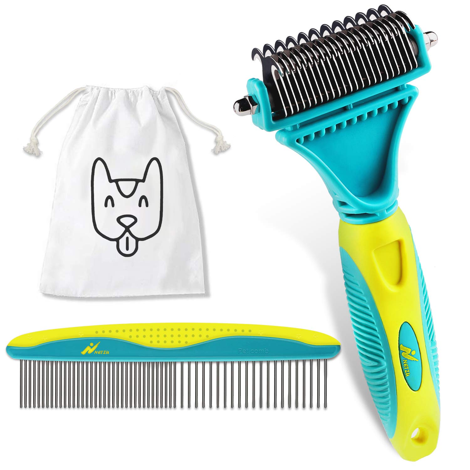 Netzu Pet Grooming Dematting Brush Set, 3-in-1 Large Pet Comb Deshedding Tool for Long Hair Pets with 2 Sided Professional Grooming Rake, Comes with Pouch Bag.