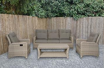 Lounge Gartenmöbel Set Aus Polyrattan In Beige. Gartenstühle Und Bank  Verstellbar Inkl. Sitzauflagen,