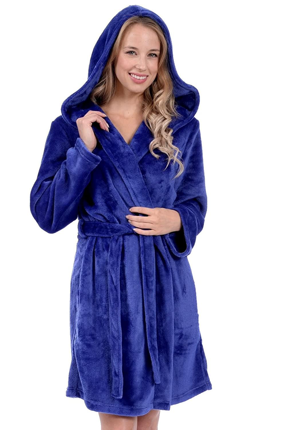 Patricia Women's Knee Length Ultra Soft Premium Plush Shawl Collar Hooded Robe
