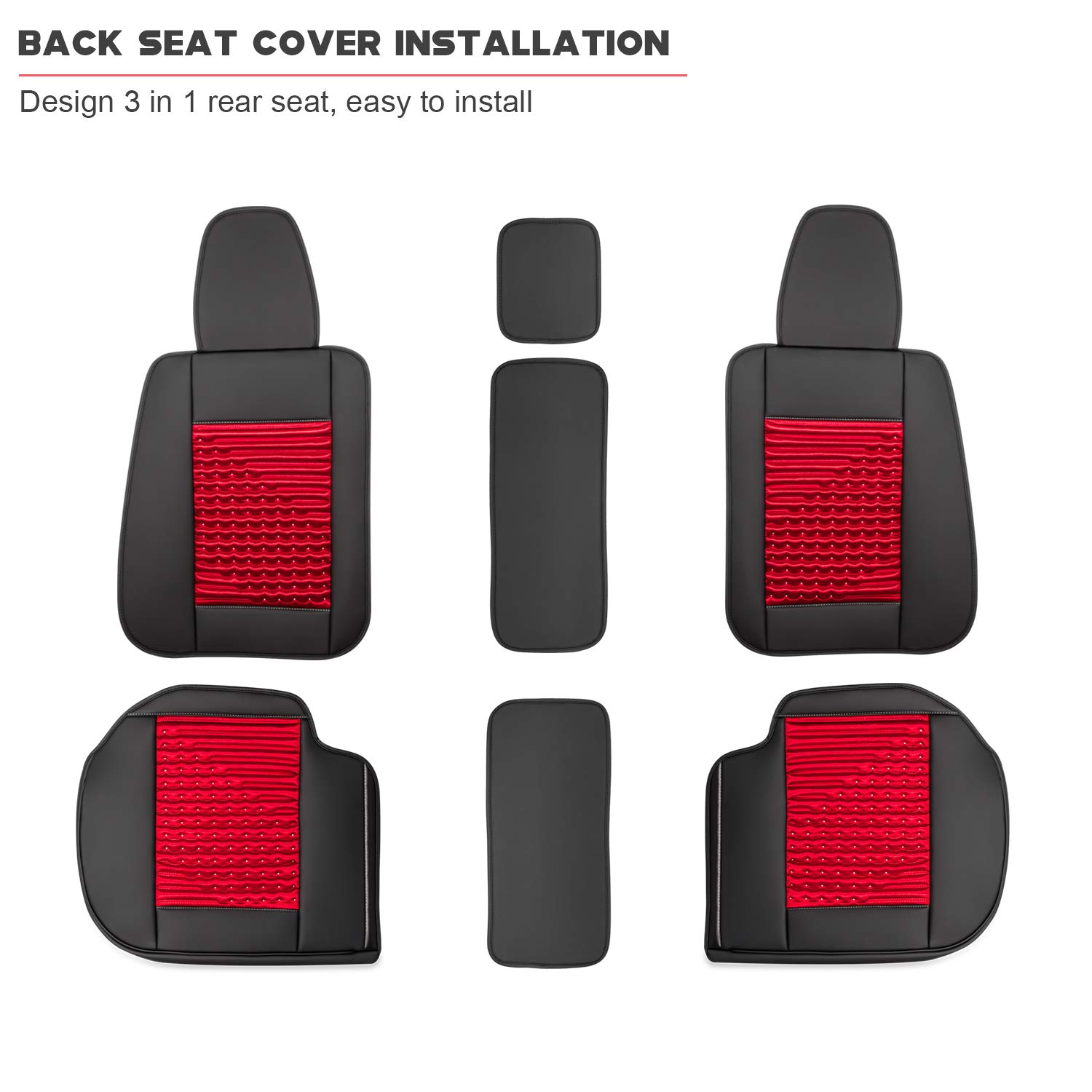 Sunluway Front and Rear Car Seat Cushion Cover Needlework PU Leather 10PCS Full Set