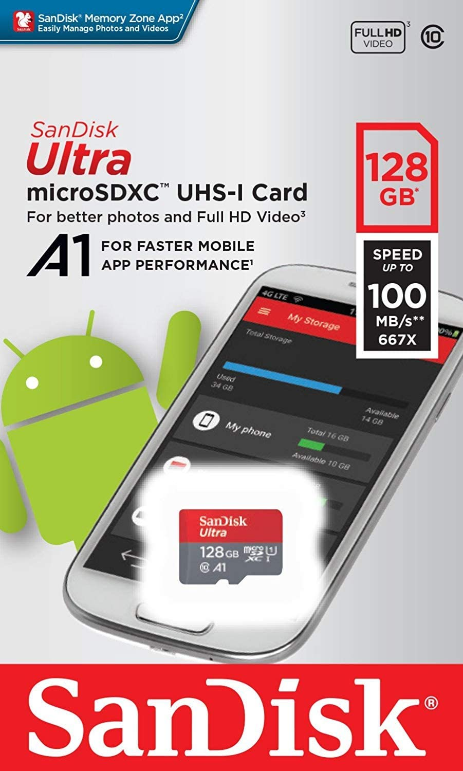 SanDisk Ultra 128GB MicroSDXC Verified for Xolo Q1000 Opus2 by SanFlash 100MBs A1 U1 C10 Works with SanDisk