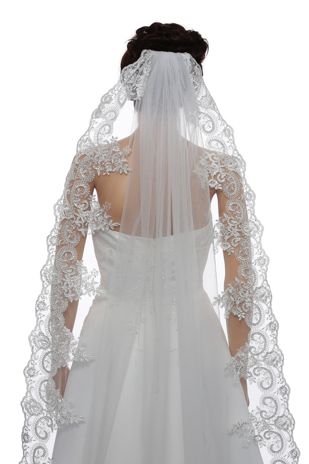 1T 1 Tier Georgeous 6'' Embroid Sequin Lace Veil - White Cathedral Length 108'' V446
