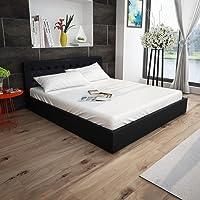 Festnight Lit-coffre hydraulique 180 cm en cuir synthétique Noir