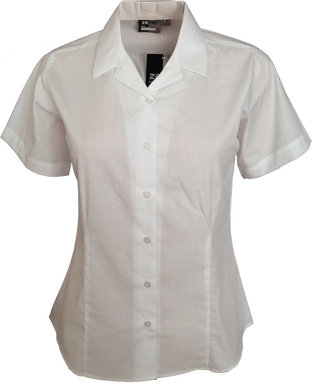 Index Girls Ladies Revere Collar Short Sleeve Fitted Blouse School Uniform Office Wear