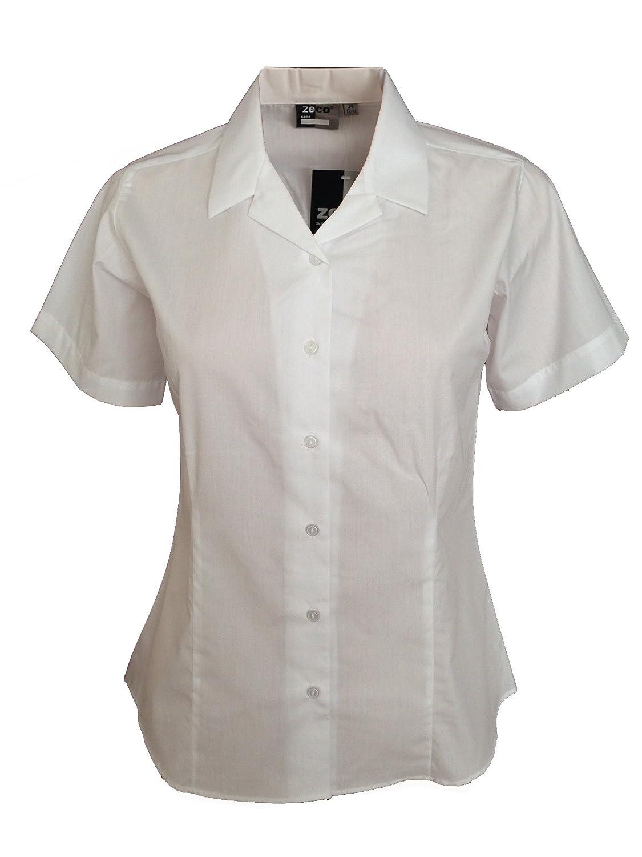 Mädchen Damen Enganliegende Bluse mit Revere Kragen und kurzen Ärmeln, Schuluniform, Bürokleidung Bürokleidung