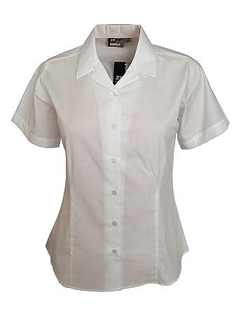 72fc06e396426d Girls Ladies Revere Collar Short Sleeve Fitted Blouse School Uniform Office  Wear: Amazon.co.uk: Clothing