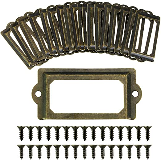 Jalan 50 St/ück Etiketten-Kartenrahmenhalter B/ücherregale Regal Schubladenschrank 60 x 17mm Antik Bronze