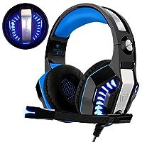 Casque Gaming PS4, Beexcellent Casque Xbox One 3.5mm Micro Premium Anti-bruit Audio Stéréo Basse Avec LED Lumière Jeux Vidéo Gaming Parfait Pour PC Laptop Tablette et Téléphones Mobiles (bleu)