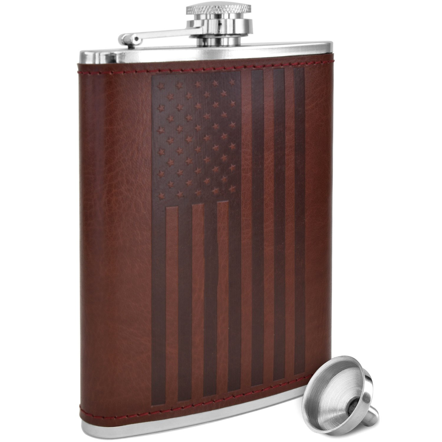 American Flag Flask - 8 oz Premium Soft Touch Leather Wrap | 18/8 304 Highest Food Grade Stainless Steel | Leak Proof Slim Hip Flasks | Classic American Flag Design | Bonus Funnel