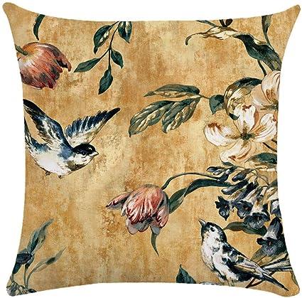 Image ofCaogsh - 2 fundas de almohada de felpa corta para cojín lumbar, sofá, almohada, almohada retro con diseño de pájaros y flores, algodón mixto, Zt002743, 50x50cm(Double-sided printing)