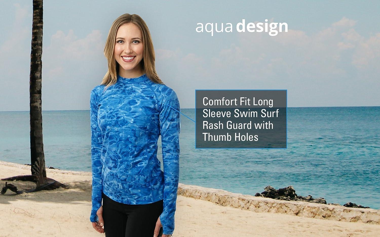 3642ecb4383 Aqua Design Womens Long Sleeve Swim Shirt  UV Rash Guard with Thumb Holes  at Amazon Women s Clothing store