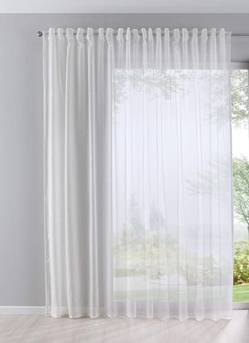 Gardinenbox Visillo Batist Aspecto de algodón Transparente Lazo Oculto Crema 245x295 (Alto x Ancho en cm): Amazon.es: Hogar