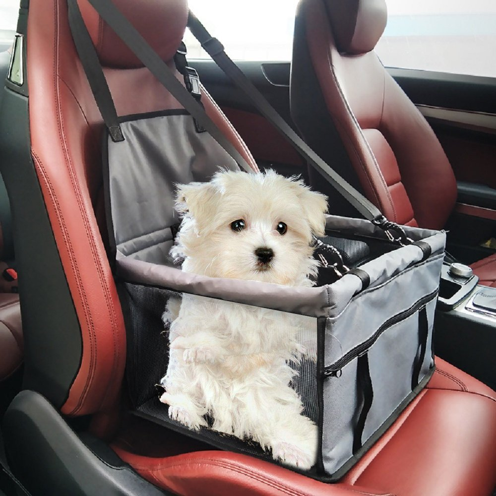 Pet Dog Booster Seats for Car with Clip-On Safety Leash and Zipper Storage Pocket for Small Dog Cat Puppy Travel Bag up to 11lbs