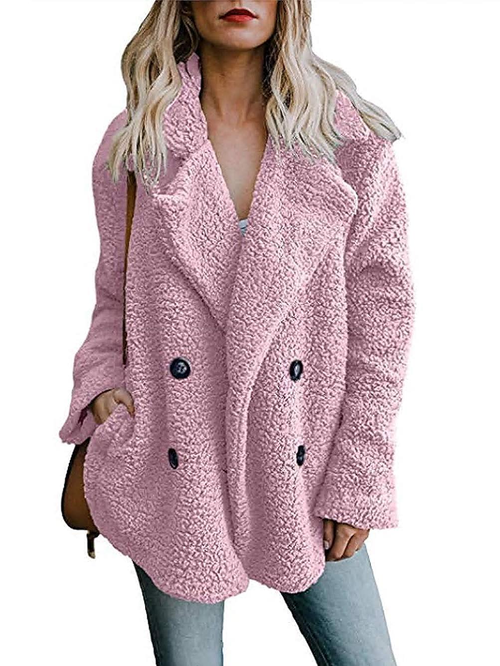 Pink goldfly Women's Winter Warm Open Front Fleece Fluffy Jacket Coat Outwear