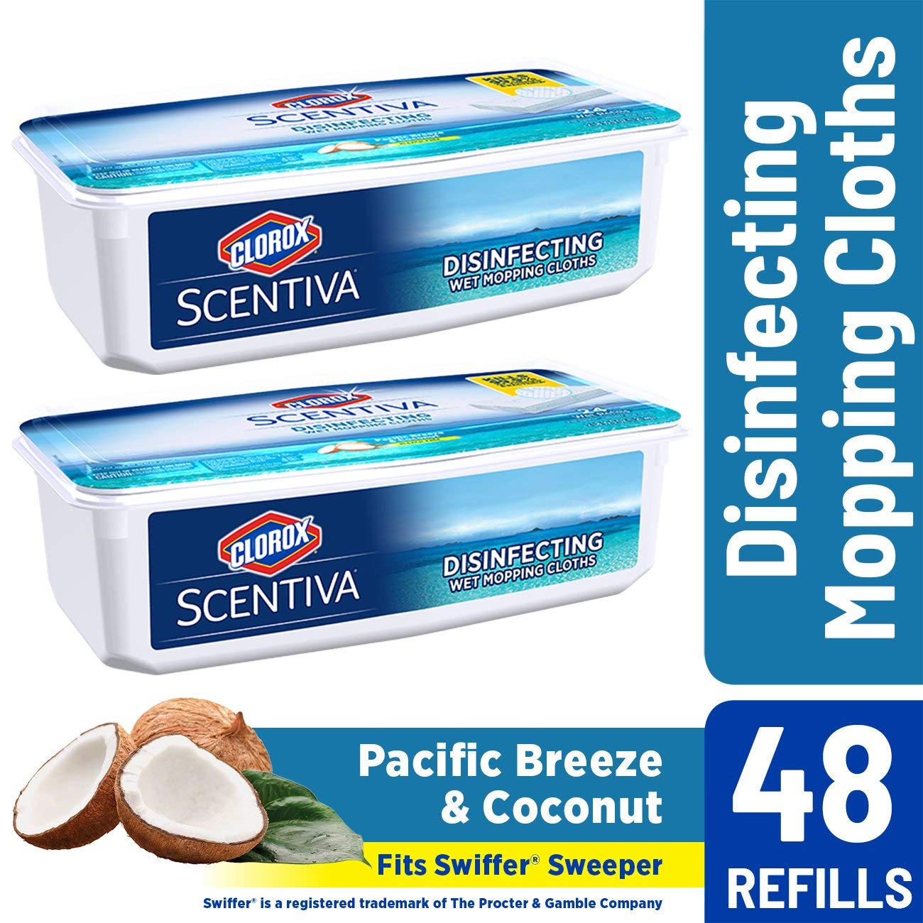 Clorox Scentiva Disinfecting Wet Mopping Pad Refills for Floor Cleaning, Pacific Breeze & Coconut, 48 Count