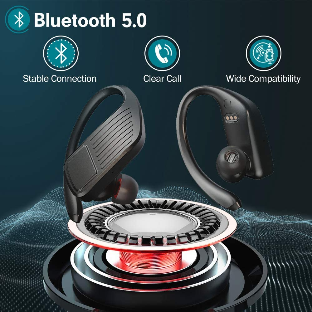 Wireless Headphones Sports with LED Display JoyGeek 2020 Bluetooth 5.0 Earphones 42H Playtime Stereo Sound Noise Cancelling Headsets with Mic Charging Case Earbuds for Running Gym Fitness IOS Android