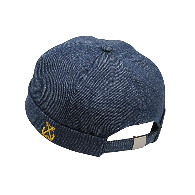 Easy Solid Retro Denim Watch Cap Sailor Beanie Leon Cuffed Hat Brimless  Docker Skullcap 7a92b98f101f